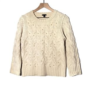 Ann Taylor Beaded Cable Knit Sweater